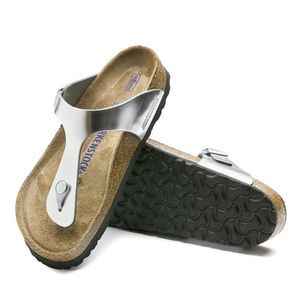Birkenstock Gizeh Soft Footbed Leather  Silver 38